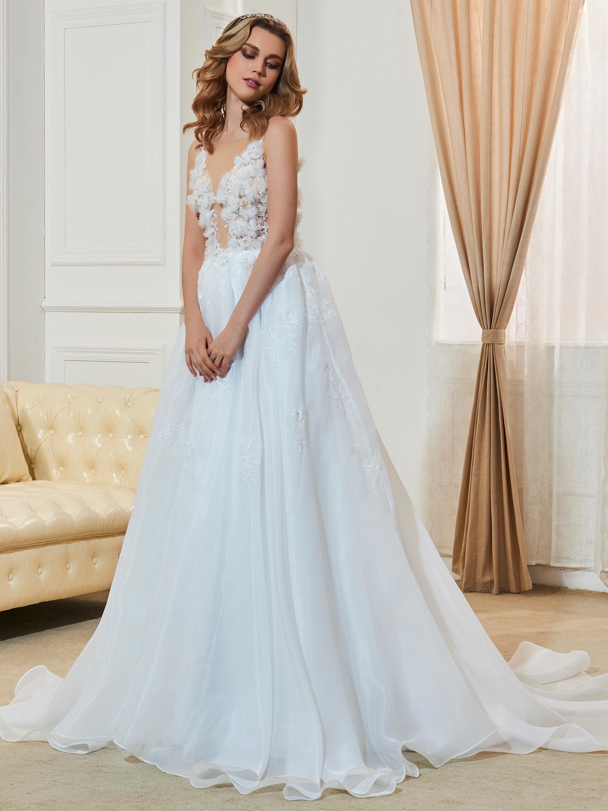Beautiful Illusion Neckline Flowers A Line Wedding Dress | Illusion ...