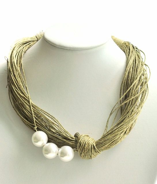 gift eco jewelry multistrand green RED pearls textile trendy necklace of linen tread natural linen linen necklace unique
