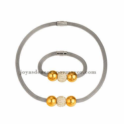 collar y bracelete plateado con bola dorado y cristal en acero inoxidable para mujer -SSNEG481656