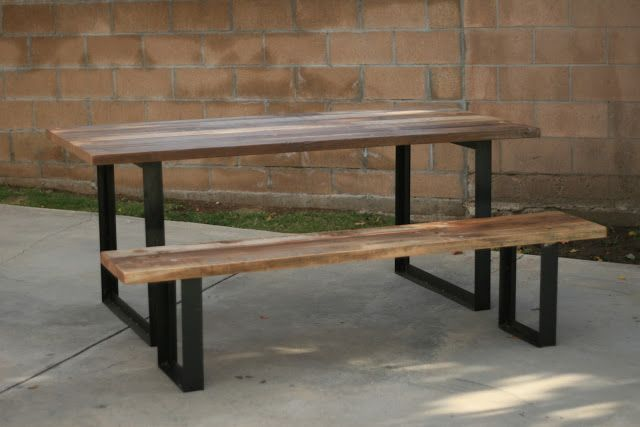 Outdoor Table Bench With Metal Legs Wooden Outdoor Furniture