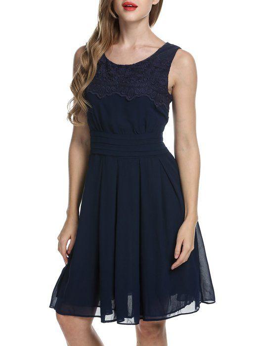 ACEVOG Damen Elegant Kleid Chiffonkleid Spitzen Partykleid ...