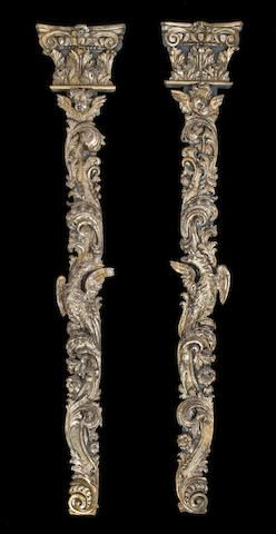 A pair of Italian Rococo carved silver gilt pilasters first half 18th century