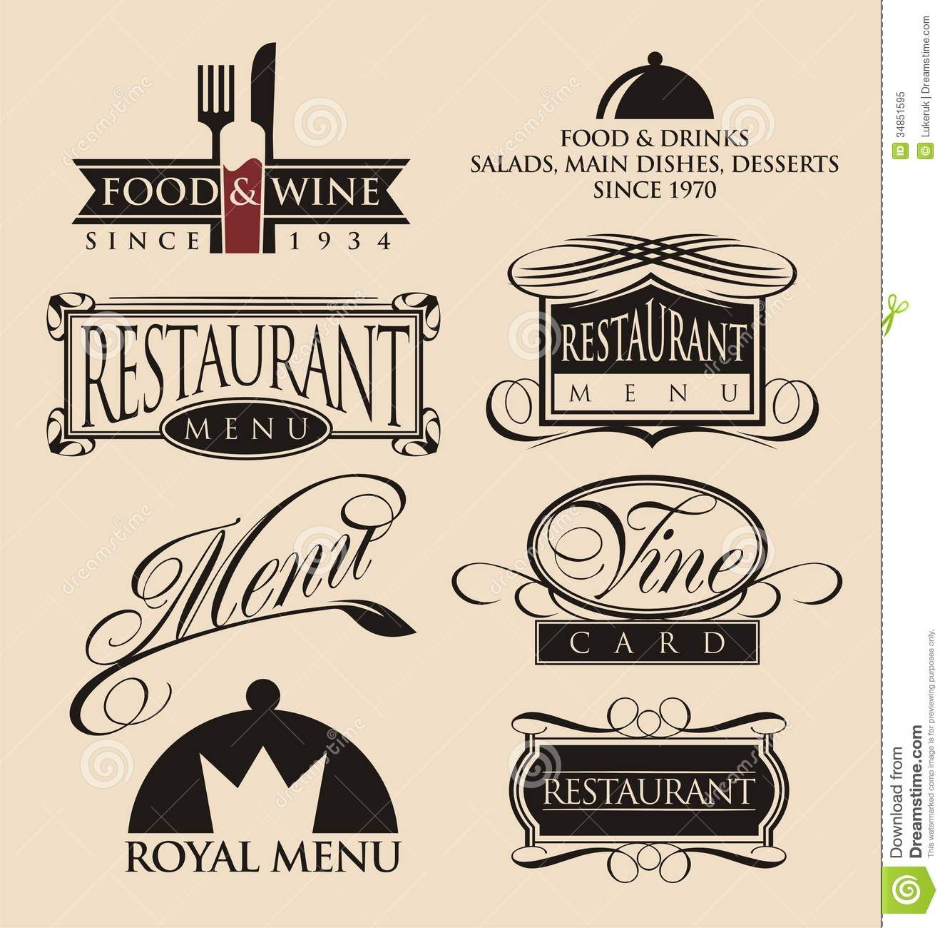 vintage restaurant logos collection download from over
