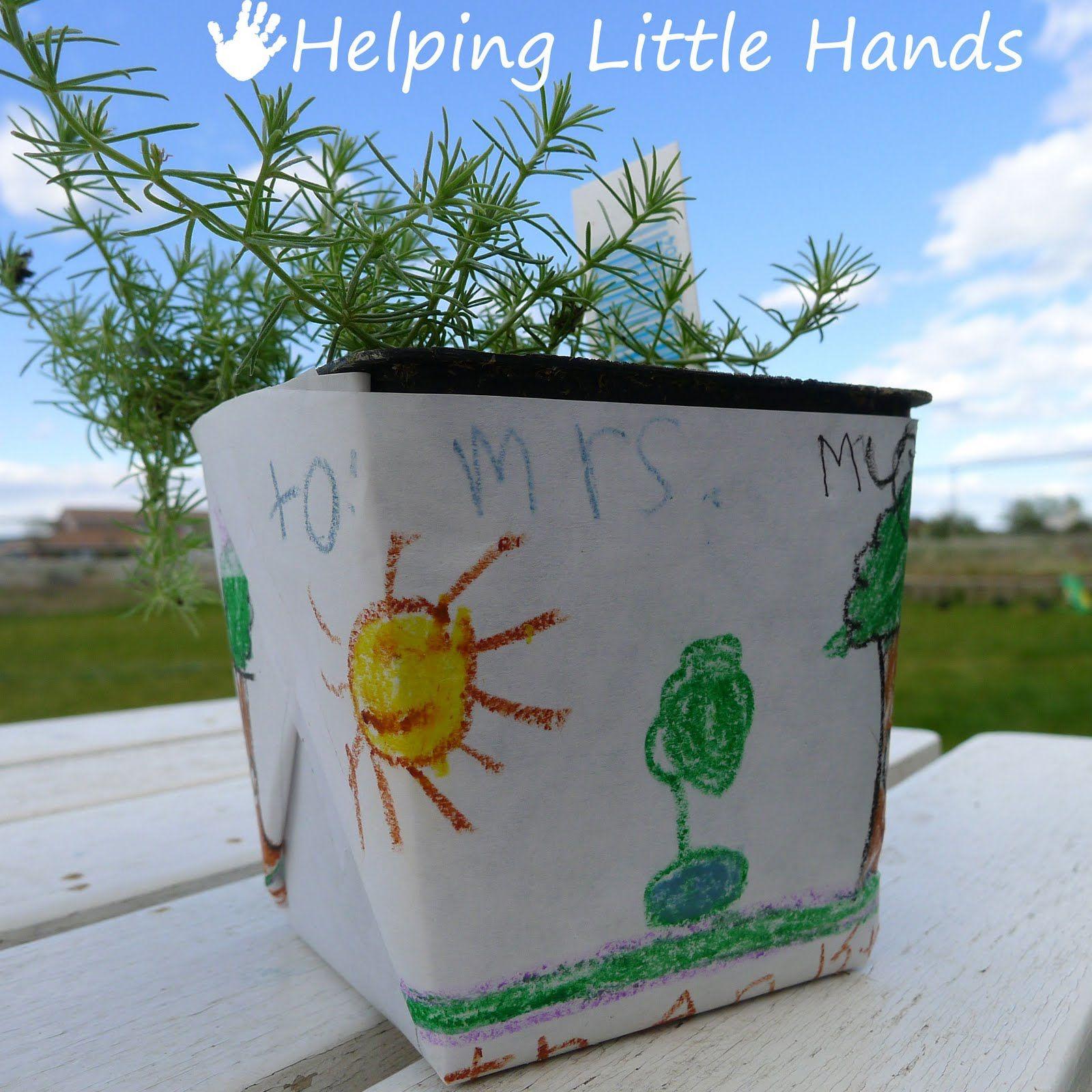 Helping Little Hands Colored Freezer Paper Flower Pot