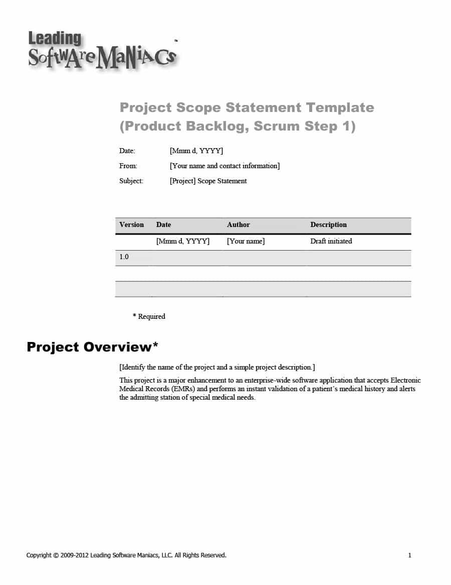 Project Scope Example Statement Template Templates How To Plan