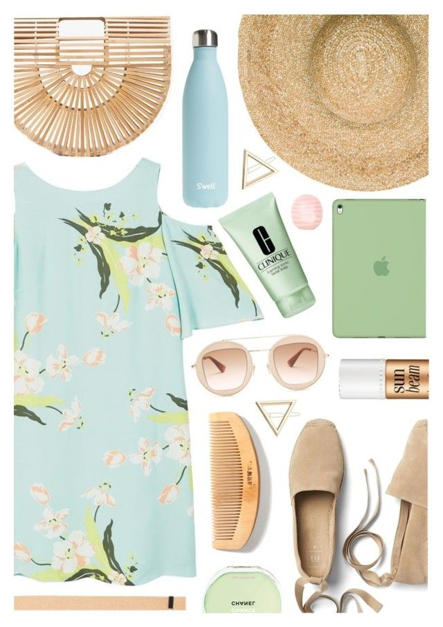 """""""Wild, wild, wild thoughts"""" by sunshineb ❤ liked on Polyvore featuring Gap, MANGO, Cult Gaia, S'well, Gucci, Eugenia Kim, Chanel, Eos, Miss Selfridge and Apple"""