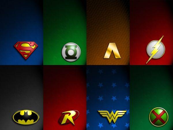 Dc Comics Justice League Logos 1600x1200 Wallpaper Dc Comics Wallpaper Justice League Logo Superhero Wallpaper
