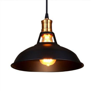 Fuloon retro industriel edison simplicit lustre vintage for Suspension metal noir