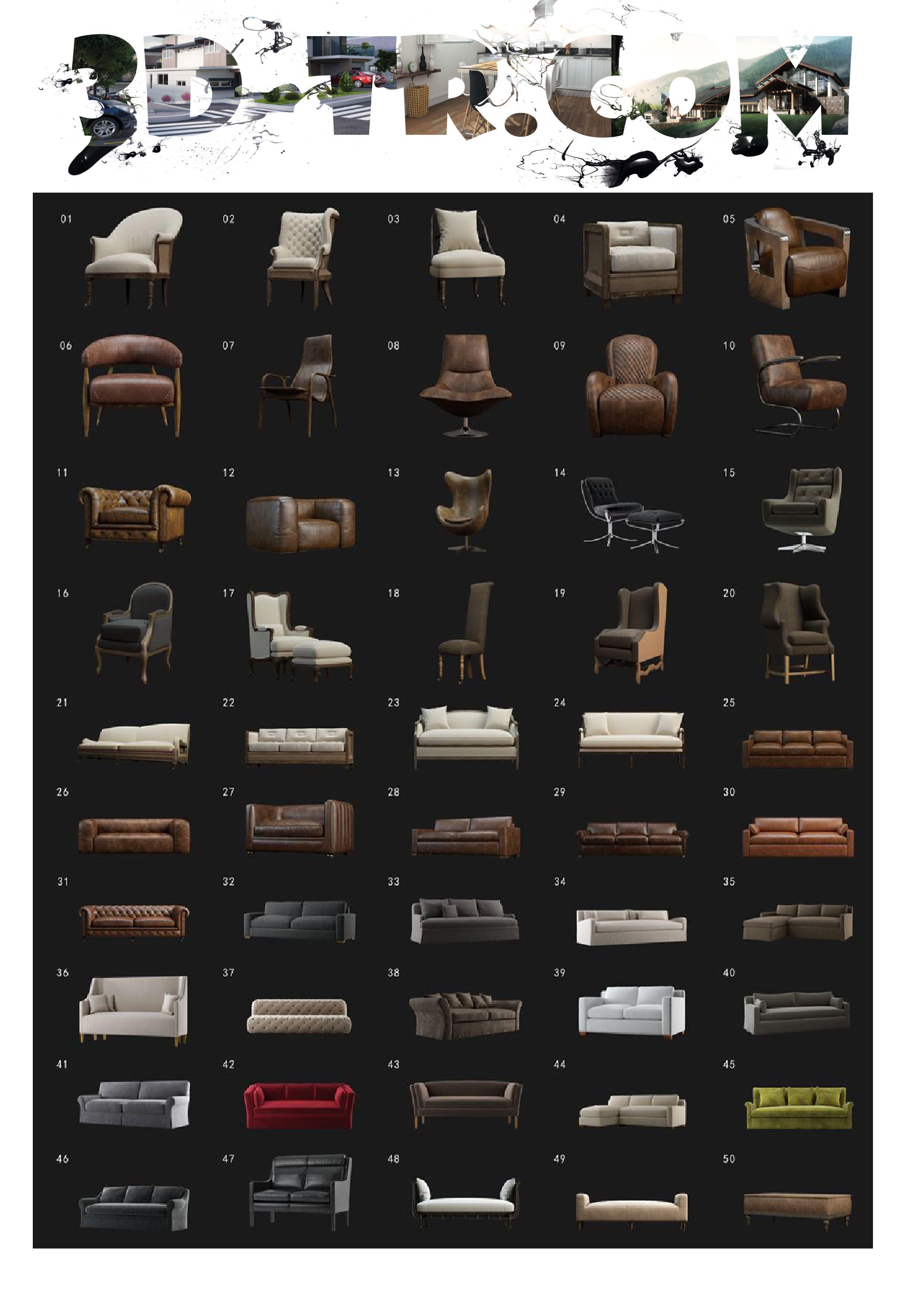 50 Adet Koltuk Modeli Modelleme Tasarim Mimari