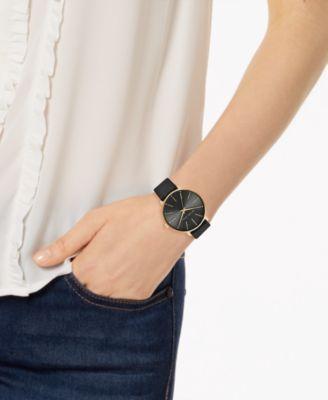 f5deb2a56e074e Michael Kors Women's Pyper Black Leather Strap Watch 38mm - Black ...