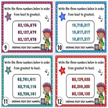 Ordering Numbers Task Cards {Order Greater Numbers - 6 to 10 Digits}. This pack contains a total of one hundred twenty (120) task cards divided into five (5) sets. This is a great resource to help students learn or practice on how to order greater numbers (6 to 10 digits). $