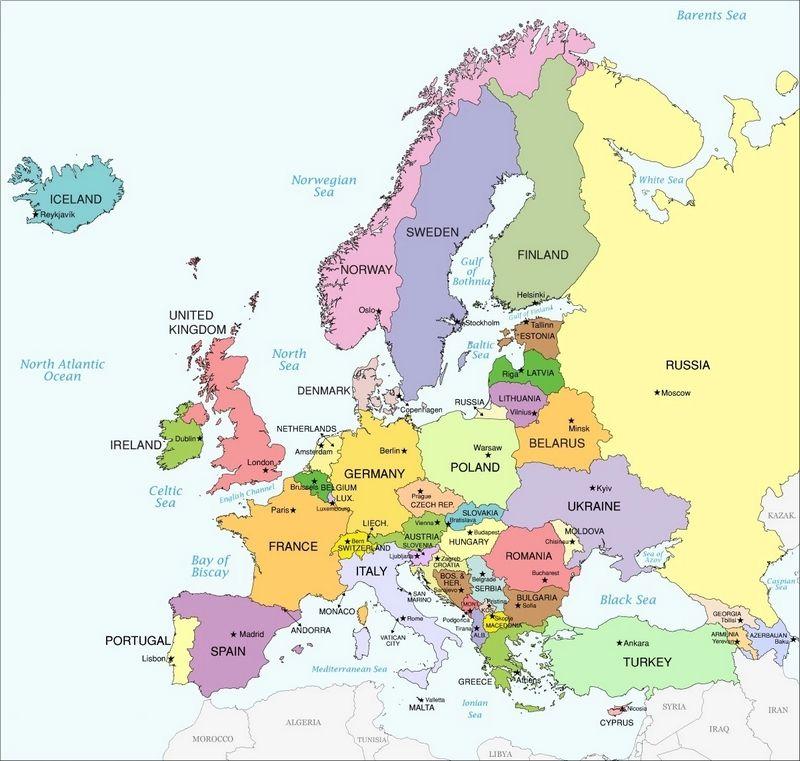 Cartina Del Austria.Cartina Geografica Dell Europa Mappa O Carta Europea Geografia Mondo Geografia Mappa