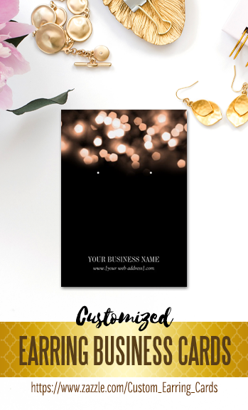 Glitter Bokeh Design On Black Custom Earring Business Cards That You Can Personalize With Your Jewelry Name And Website Make Own Professional