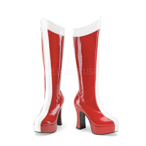 EXOTICA-305 Funtasma Sexy Shoes 4 Inch Red-Wht Stretch Pat Wonder Woman / Super Hero Boots