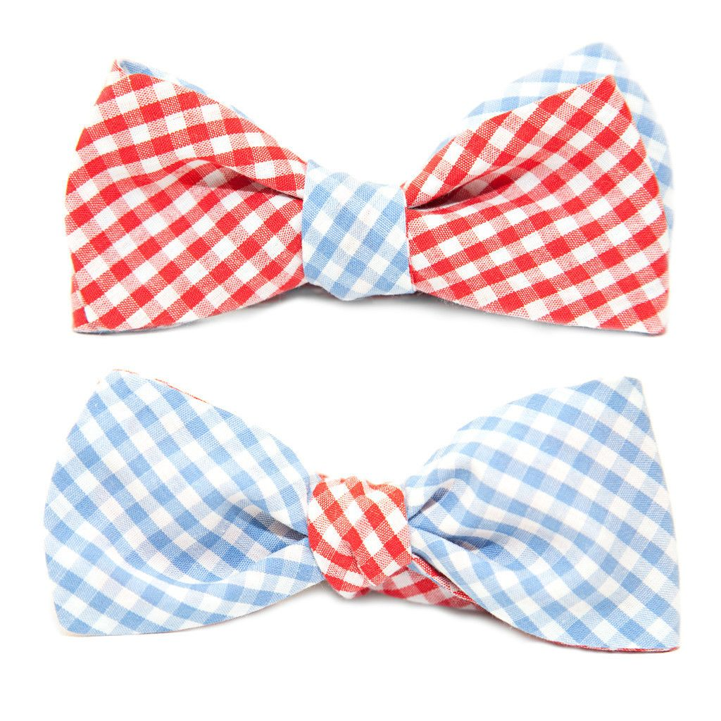QP Collections Cotton Reversible Bow Tie in Blue and Red Gingham – Redwood Quality Goods