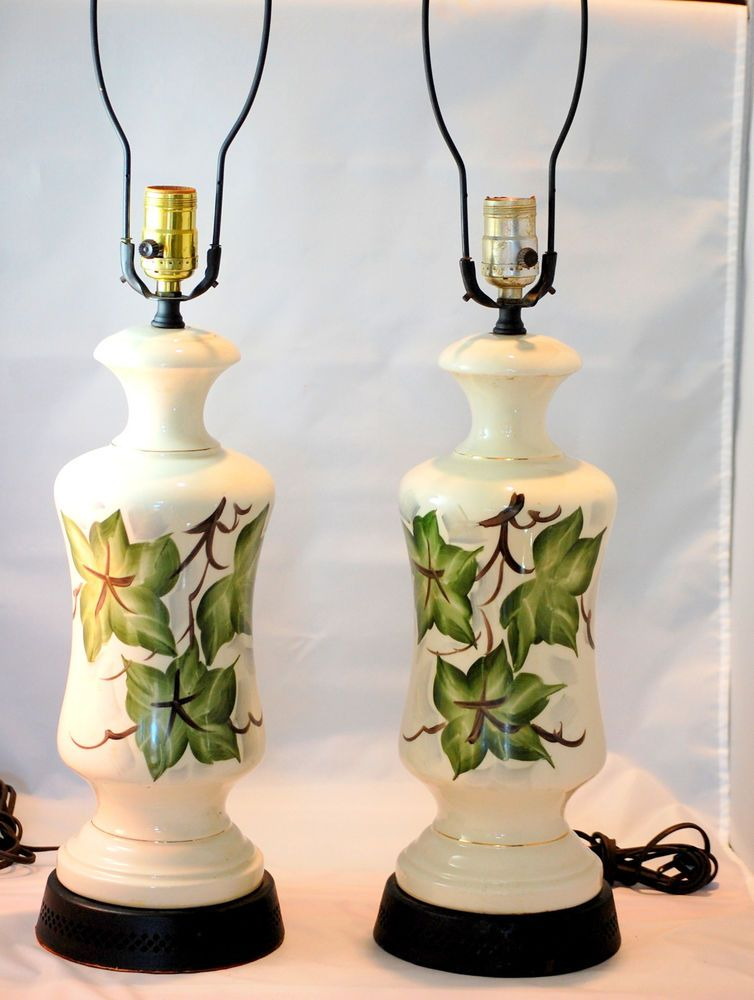 Vintage 1950s Hand Painted Ivy Leaves Matching Table Lamps