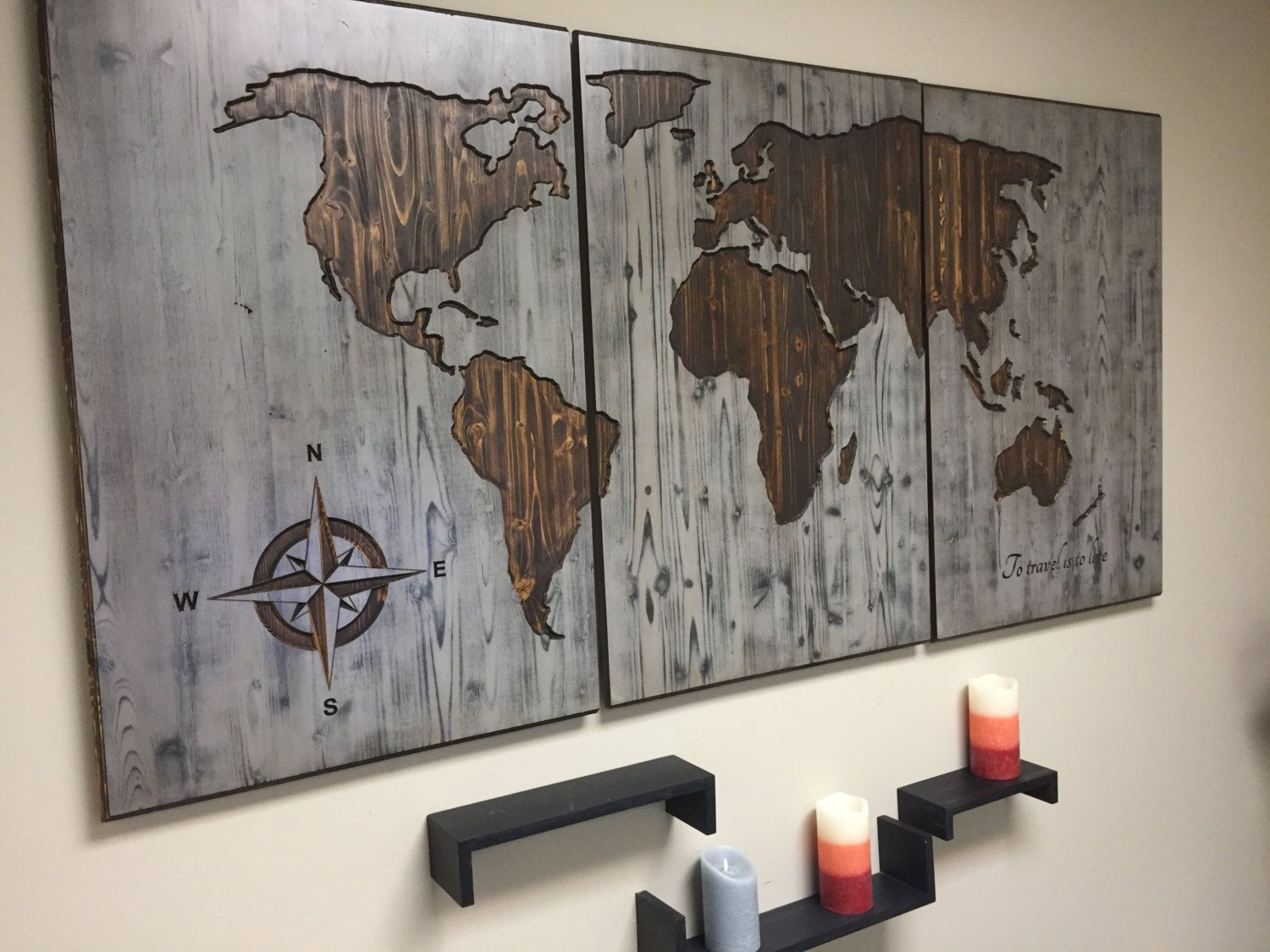 World Map Wood Wall Art Carved Custom Home Decor Wooden Map Wooden 3 Panel Modern Rustic Distressed To Travel Is To Live Quote