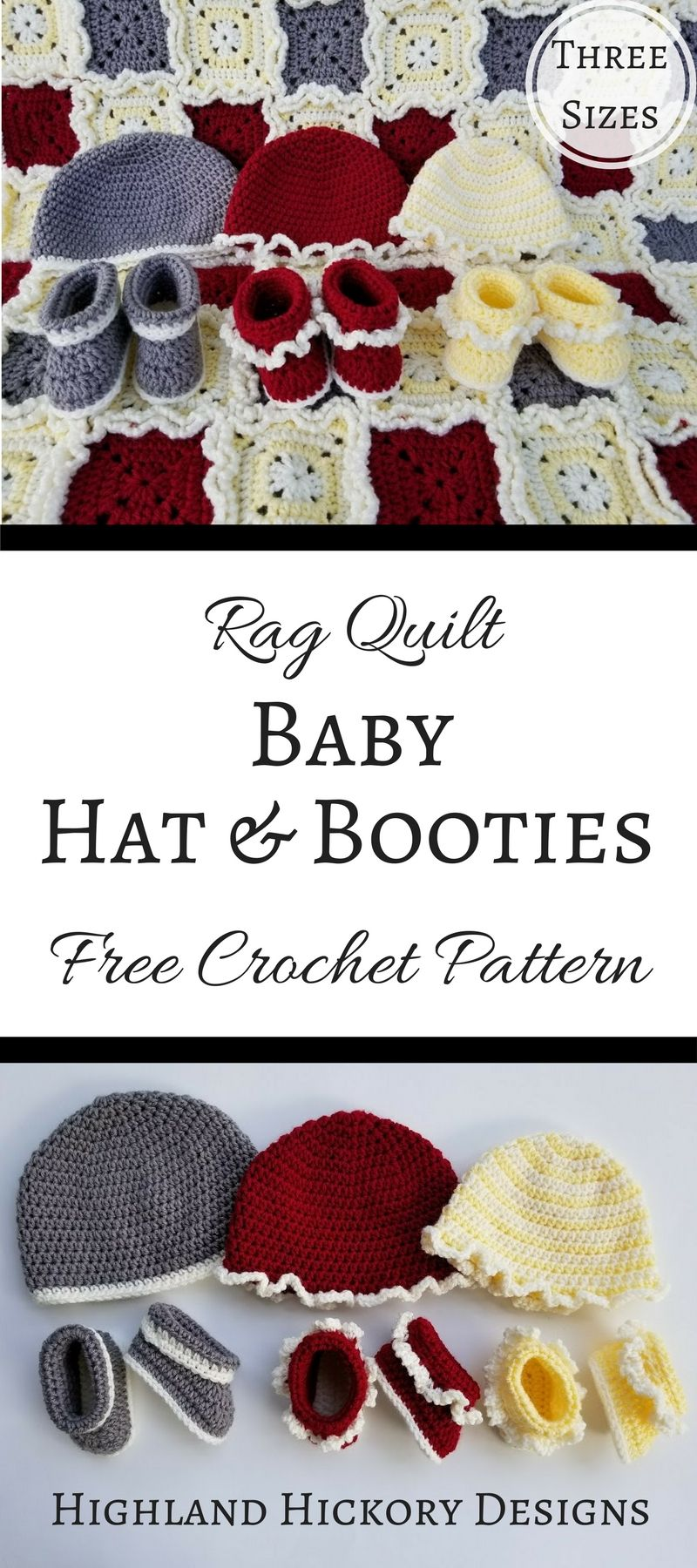 Rag Quilt Baby Hats and Booties | Highland Hickory Designs ...