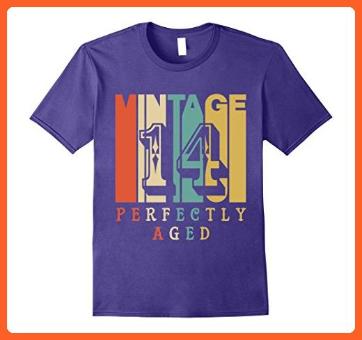 Mens Vintage Style 14 Years Old Birthday T Shirt Large Purple