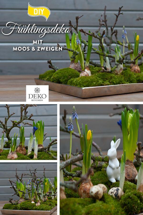 DIY: wunderschöne Osterdeko mit Moos & Zweigen