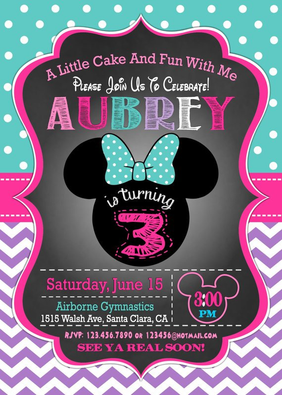 MINNIE MOUSE INVITATION 3rd Birthday Invitation Minnie Mouse Bir