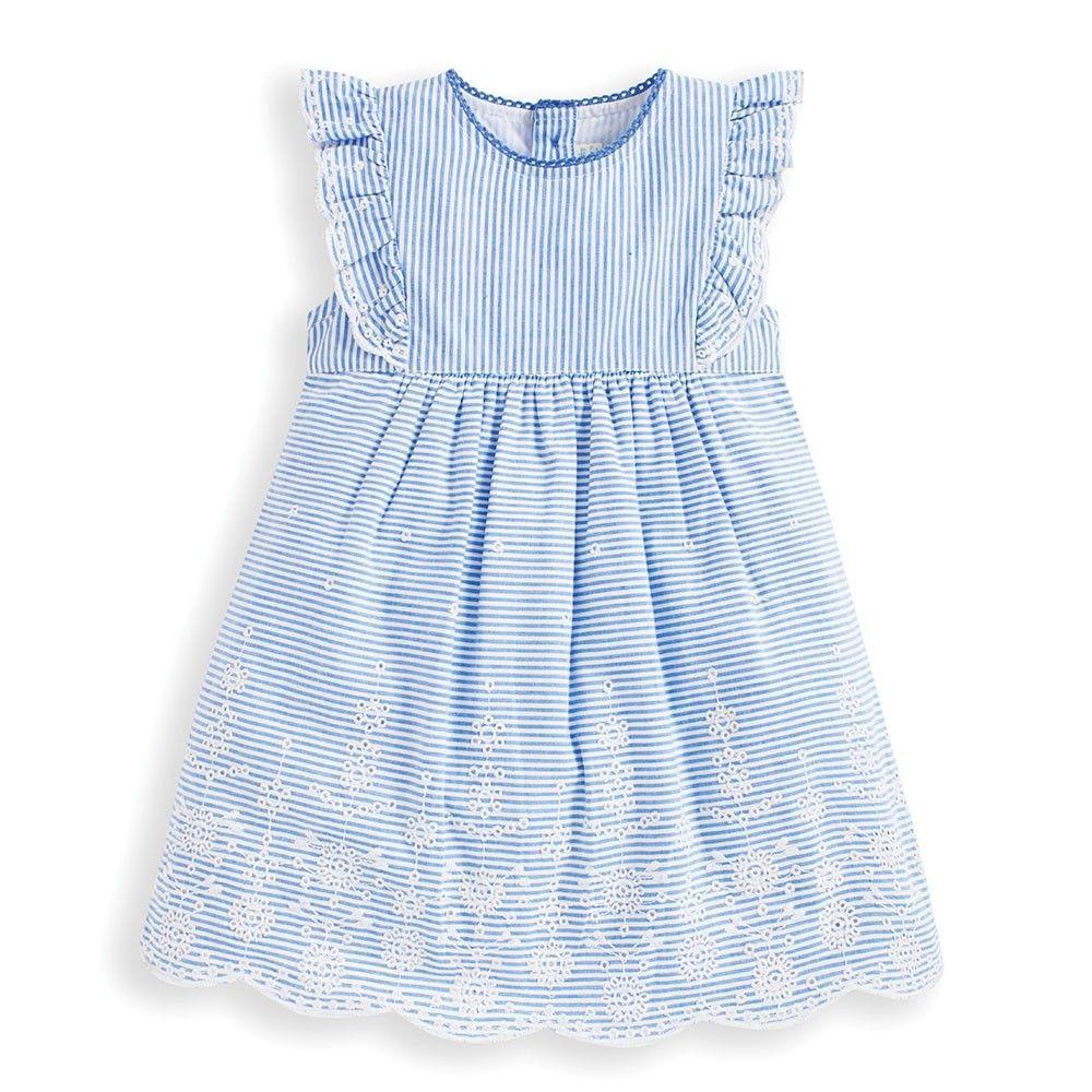 Girls Blue Broderie Anglaise Dress Angel Sleeves Dress Cotton Dress Summer Striped Dress Summer