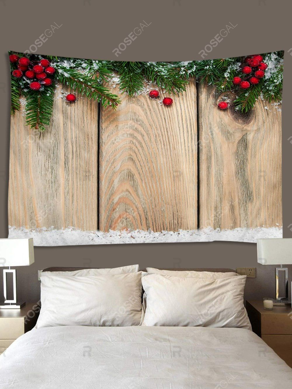Christmas Branches Berry Wood Grain Print Tapestry Wall Hanging Art Decoration In 2020 Printed Tapestries Tapestry Wall Hanging Christmas Branches