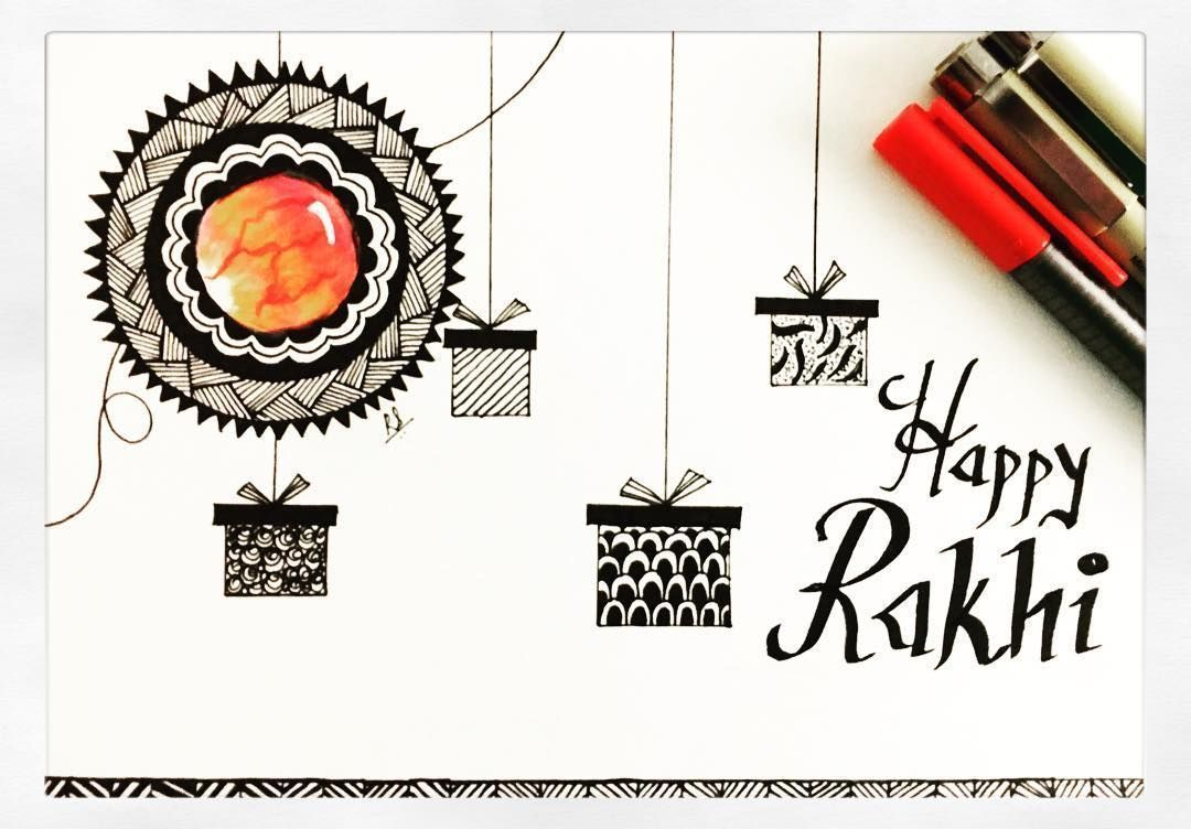A card that I made for my brother to celebrate the Indian festival of Raksha Bandhan :) On Raksha Bandhan sisters tie a rakhi (sacred thread) on her brother's wrist. This symbolizes the sister's love and prayers for her brother's well-being and the brother's lifelong vow to protect her! Happy Raksha Bandhan Adu! Miss you  #ruchyum #zentangleinspiredart #blackandwhite #zentanglegems #rakshabandan #indianfestival #celebrations #artwork #artist #artist_features #artistsoninstagram #instaartist #ins #rakshabandhancards