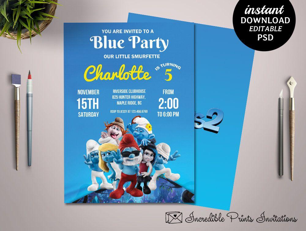 Printable Smurfs 5th Birthday Party Invitation Template Smurfs Birthda Party Invite Template Birthday Party Invitation Templates Birthday Invitation Templates
