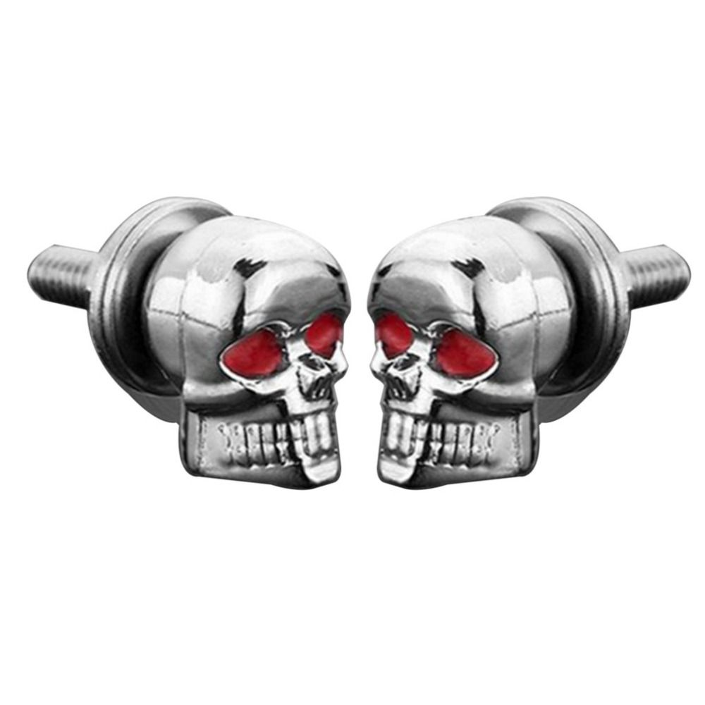 A Pair/Set Motorcycle Car Accessories Skull Decoration License Plate ...