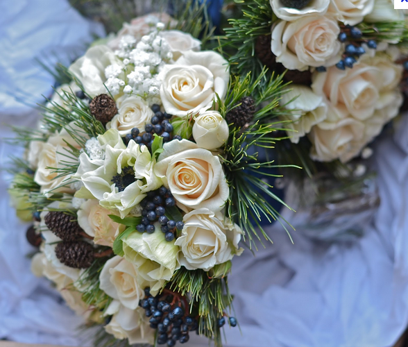 Wedding flowers - white but with hint of dark blue