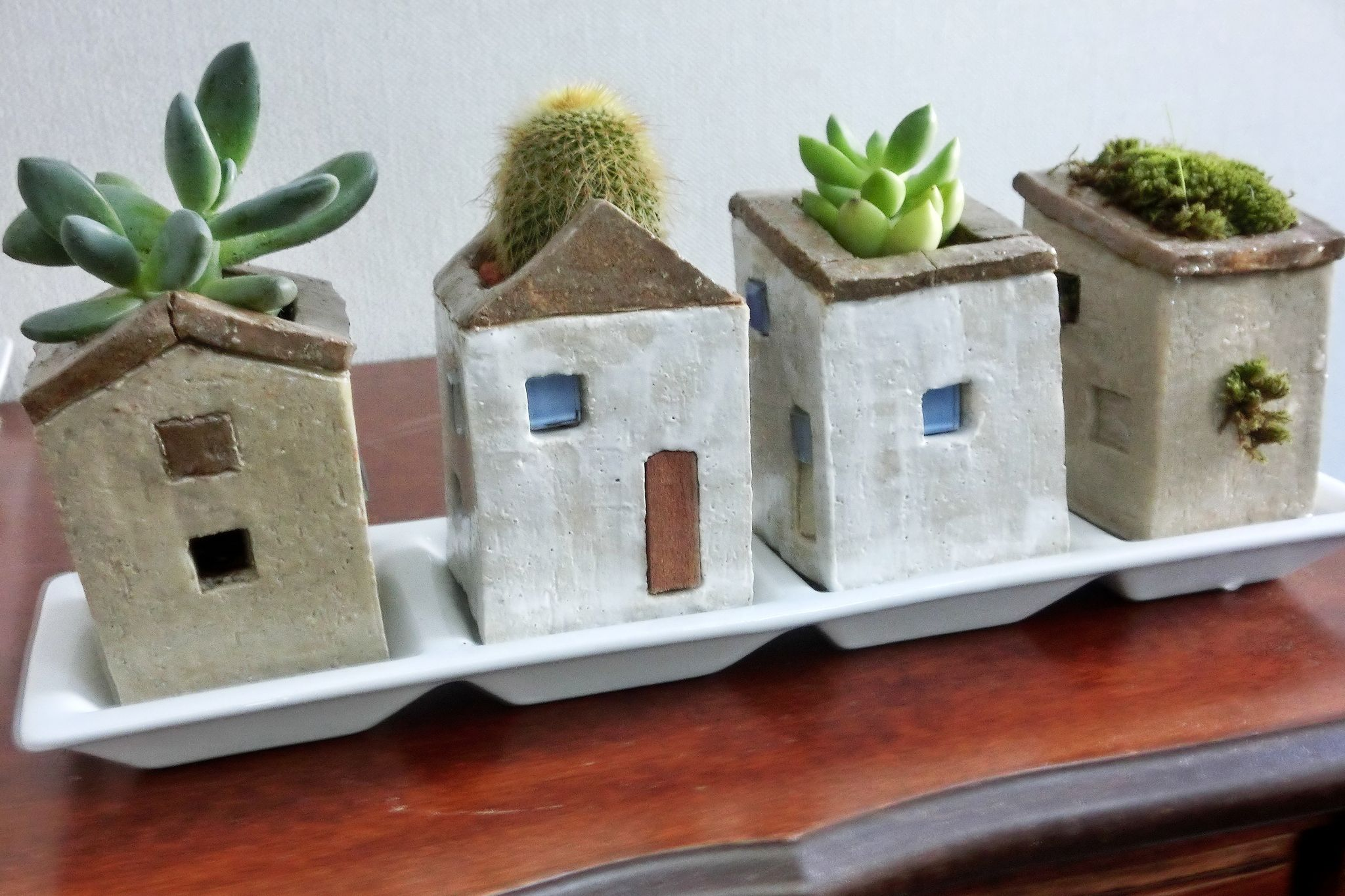 Ceramic Pottery For Plants Little Houses Plant Growing On A Roof My Work Pottery
