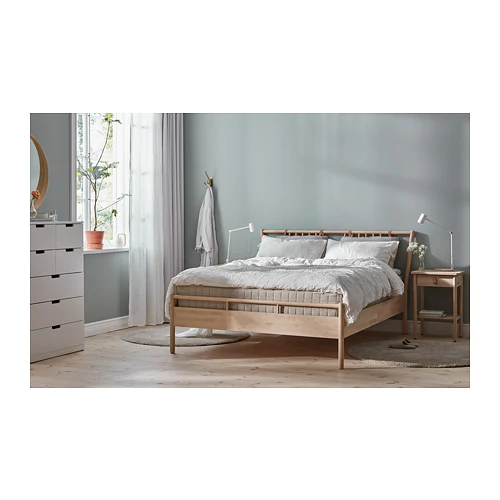 BJÖRKSNÄS Bed frame, birch, Luröy, King IKEA in 2020