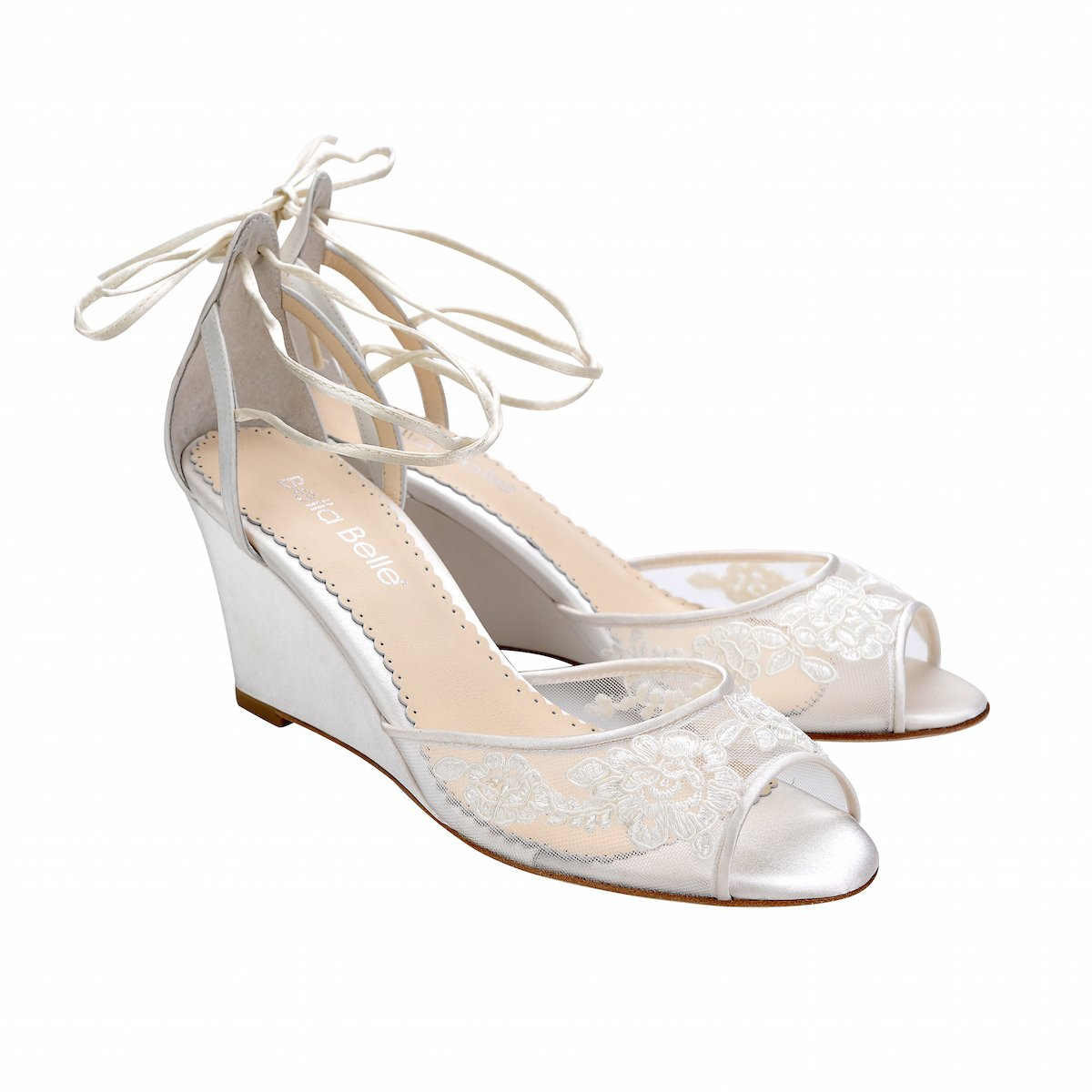 466b22b7907 Ivory Floral Lace Wedge Wedding Shoe in 2019