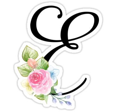 Floral Monogram Fancy Script Letter E Sticker By Grafixmom In 2021 Fancy Letters Fancy Script Lettering
