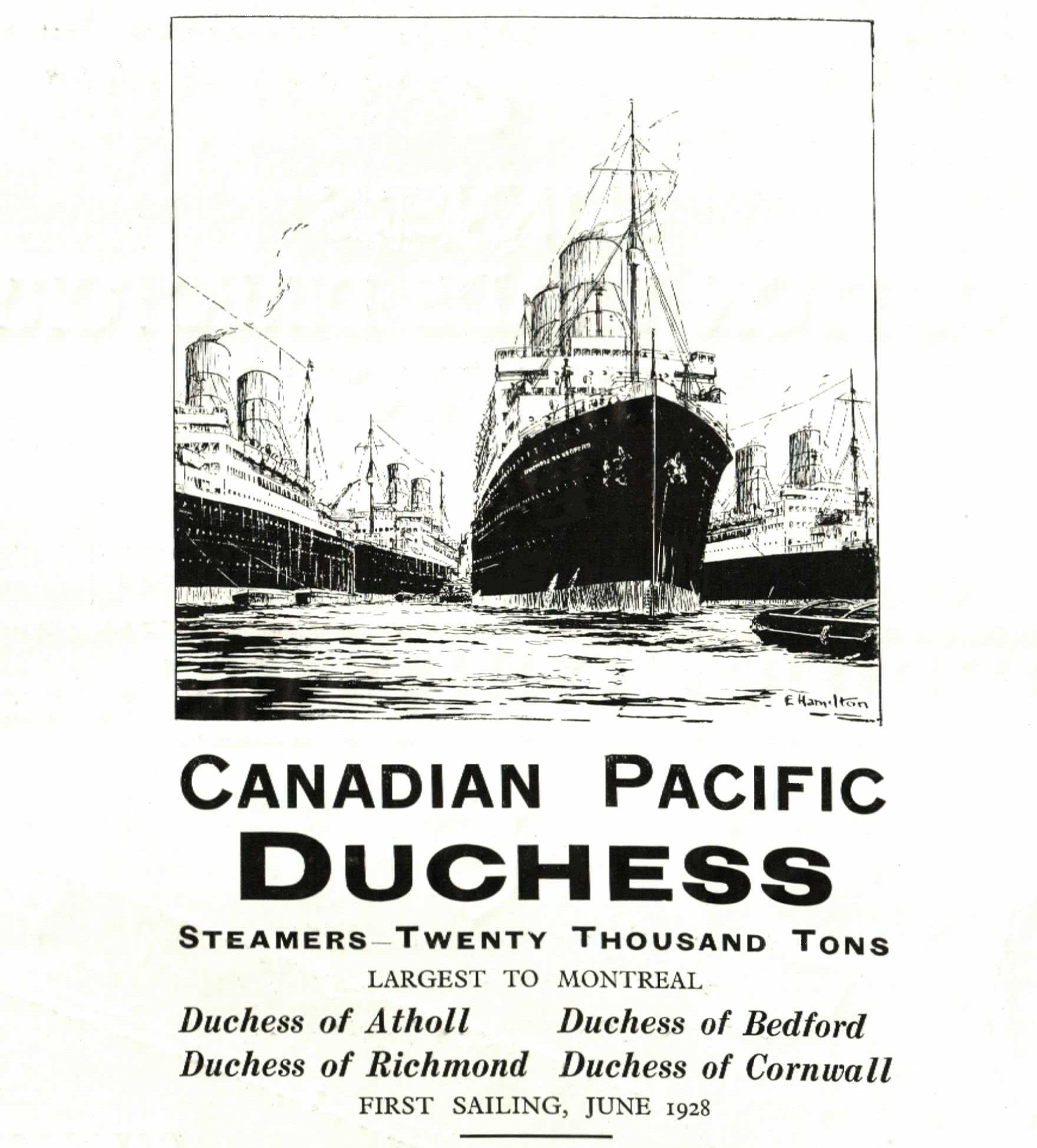 Canadian Pacific Steamers Advert Shipping Adverts - Can you take a steamer on a cruise ship