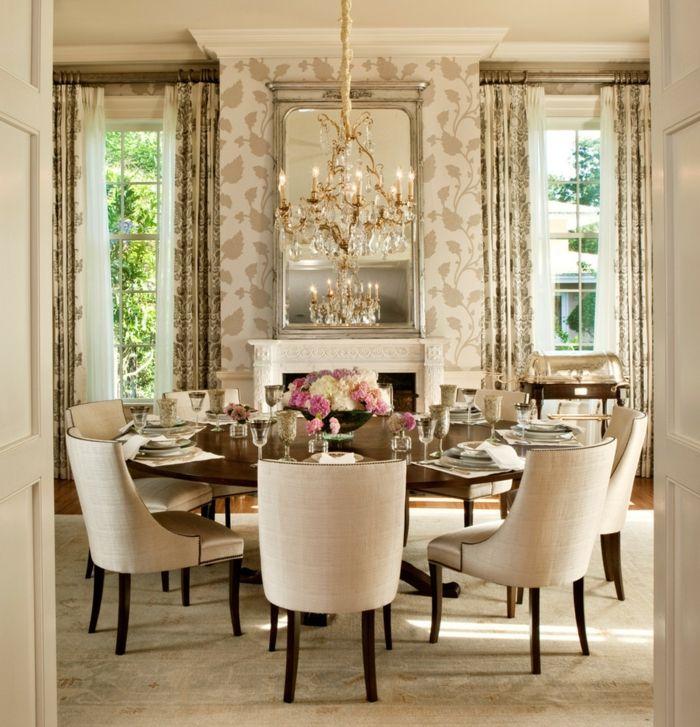 Lovely Wandgestaltung Esszimmer Runder Esstisch Kamin Spiegel Home Design Ideas