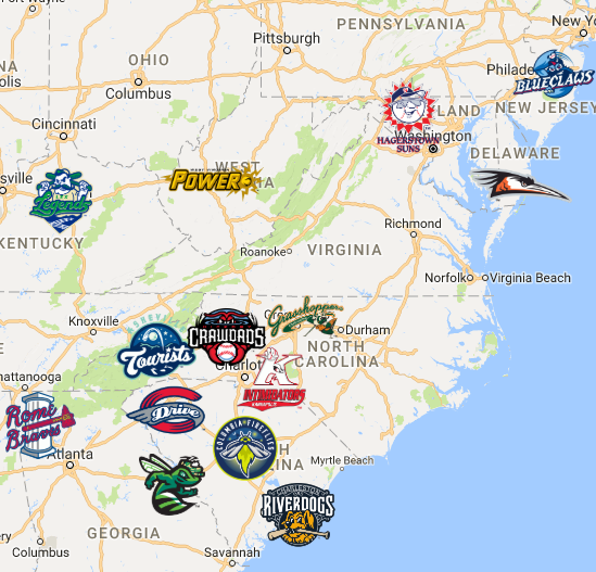 2019 South Atlantic League Map Minor League Baseball League Sports Logo