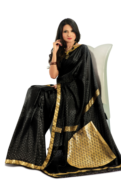 3ef621d4fcce6 Black mysore silk saree with a gold border. - RmKV Silks