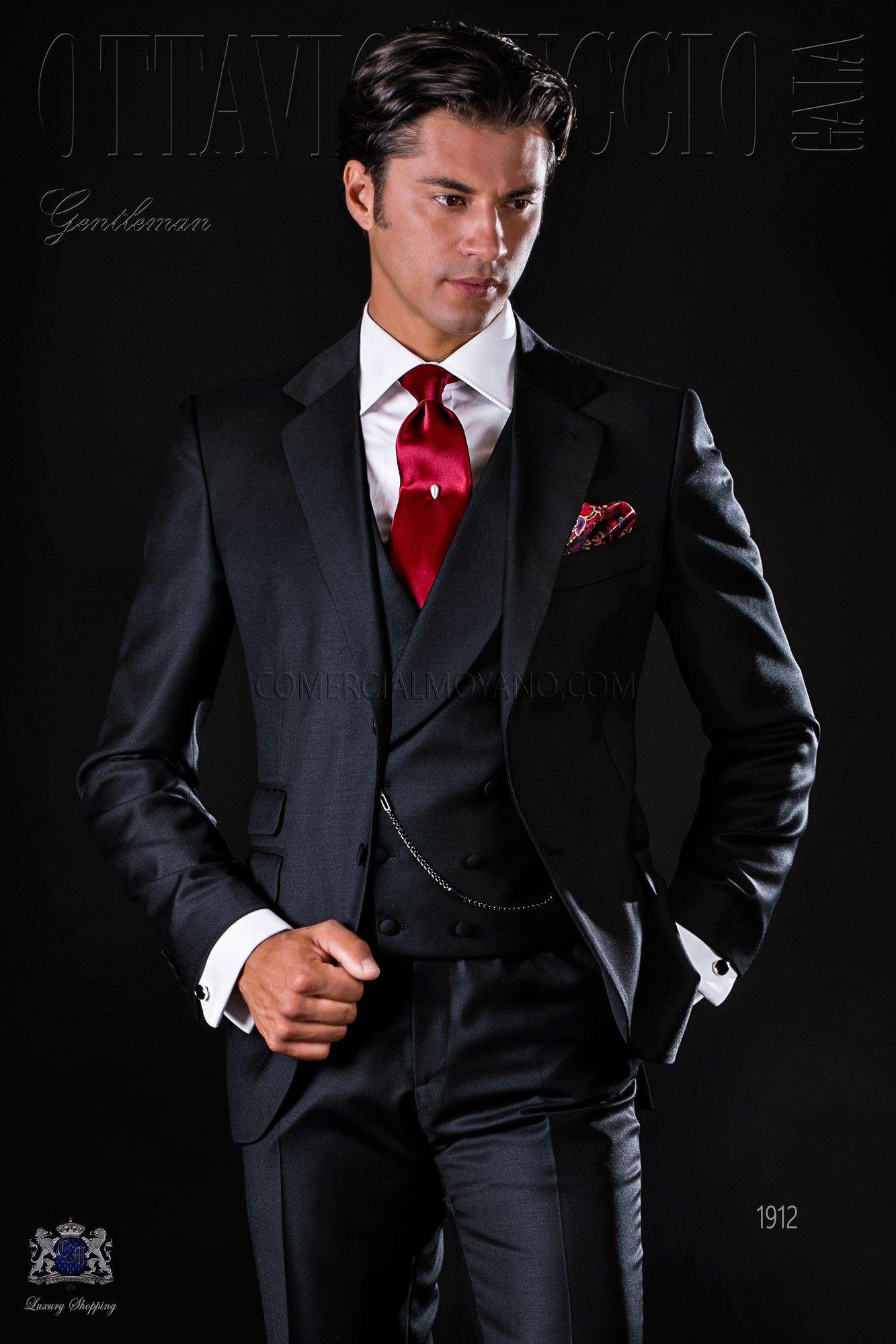 Italienisch schwarze Anzug aus Serge Wolle Stoff | Schwarzer anzug ...