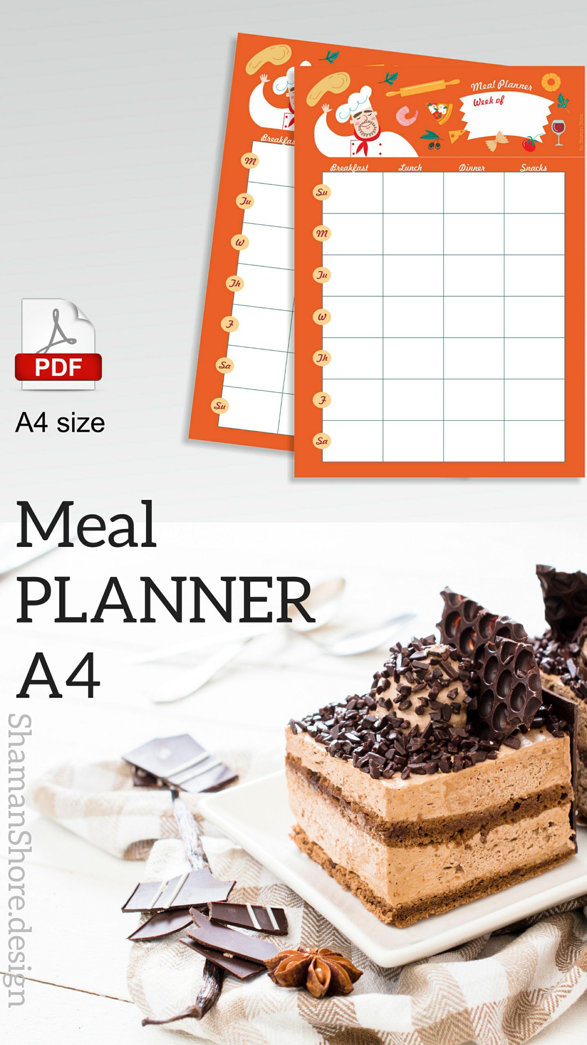 Shshprintables Meal Plan Calendar Template  Printable Weekly Meal