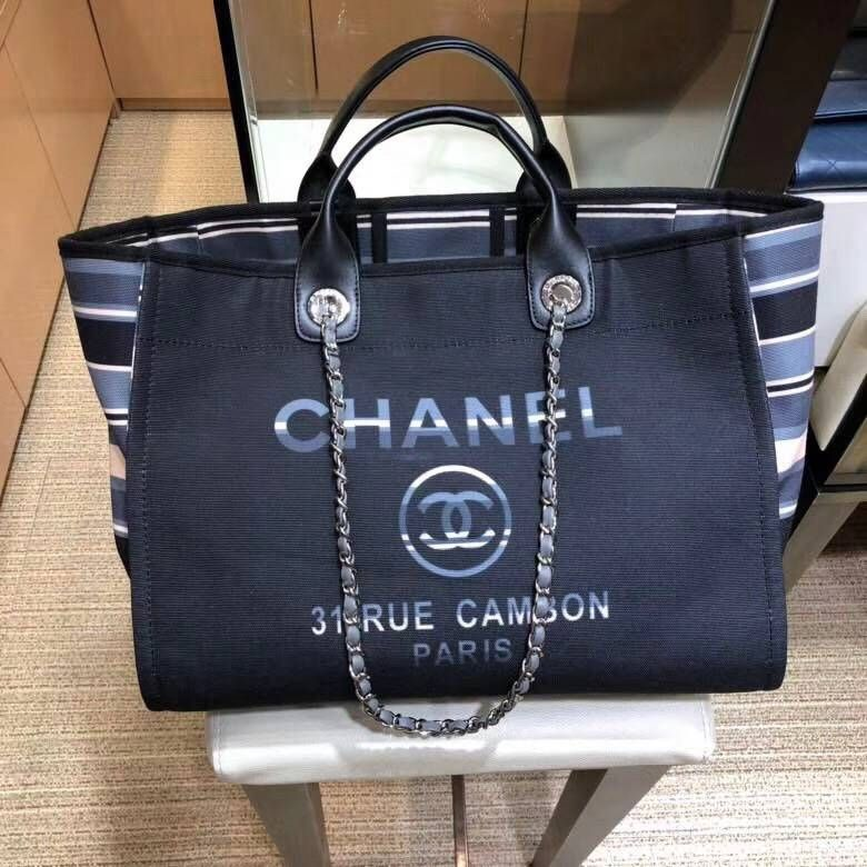 2a05b7c0a702 Chanel Canvas Deauville Shopping Bag A66941 Strip Black 2018 ...