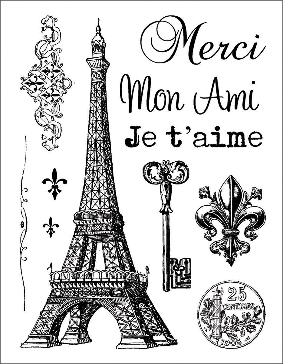 Get a Eiffel Tower charm, add an old keyand stitch the