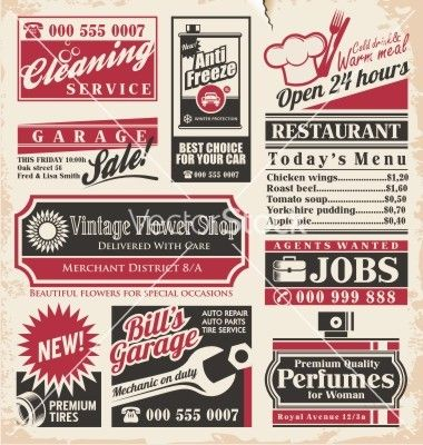 retro newspaper ads design template vector by lukeruk on vectorstock