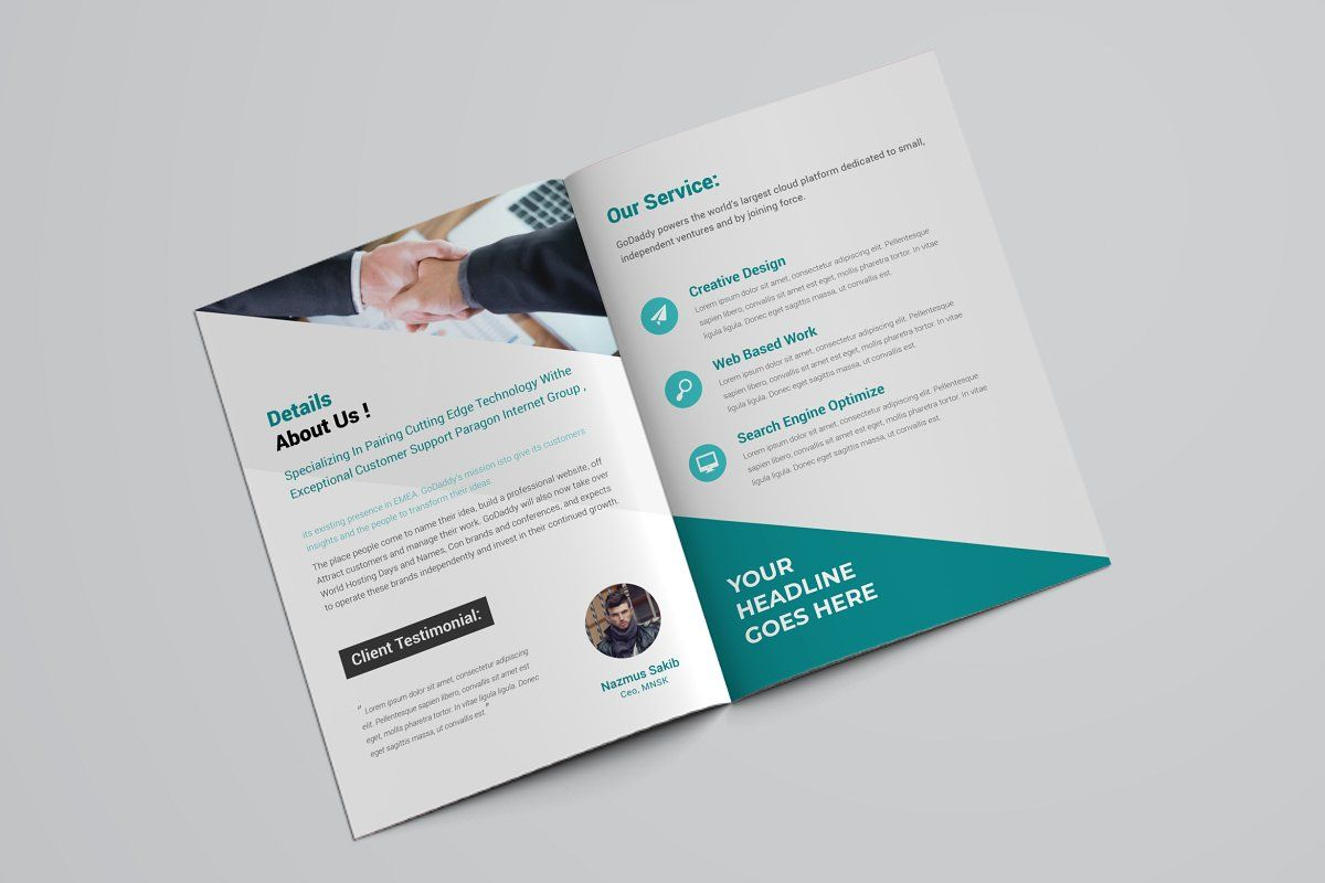 Abstract Business Bifold Brochure Brochure Material Design Background Text Tool