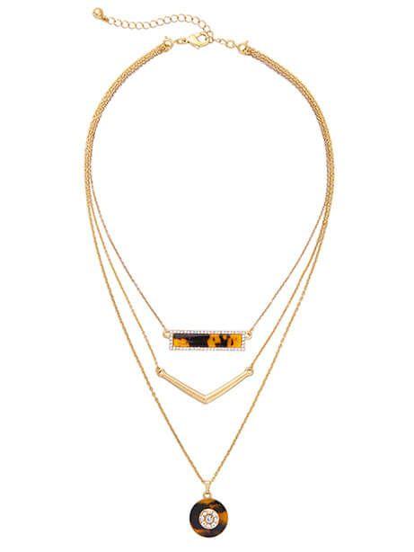 Tortoise Bar 3 Layer Necklace