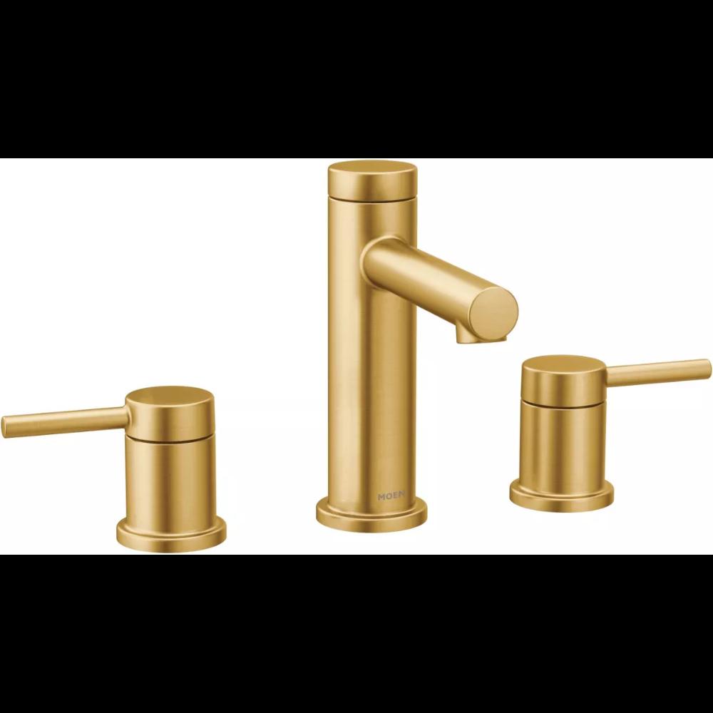 Moen T6193bg Align 1 2 Gpm Widespread Bathroom Build Com In 2021 Bathroom Faucets Widespread Bathroom Faucet Gold Faucet
