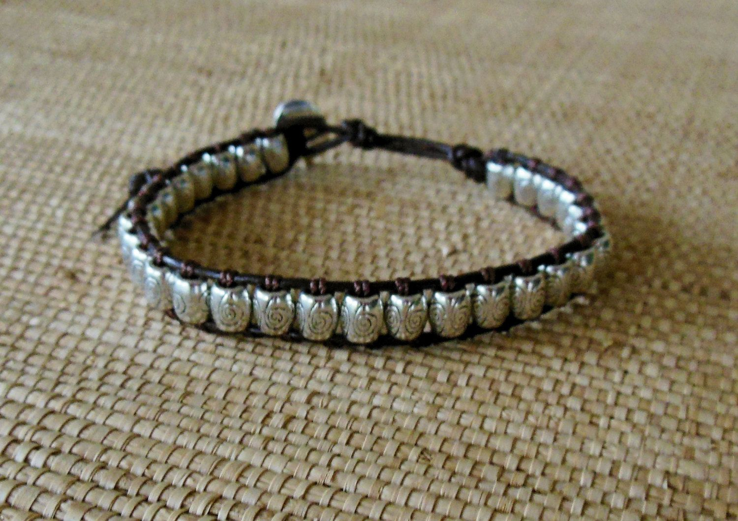 Mens leather and silver bracelet masculine braceletsingle wrap