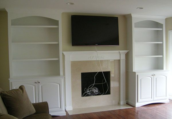 The Carpenters Finished Adding This To Our Livingroom And We Love It The Bottom Cab Bookshelves Around Fireplace Built In Around Fireplace Fireplace Bookcase