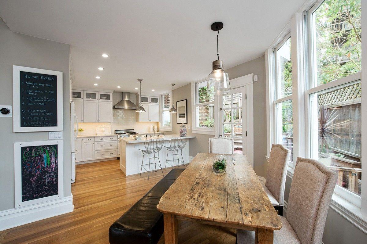 White trim, grey walls, honey oak floor | House ideas ...